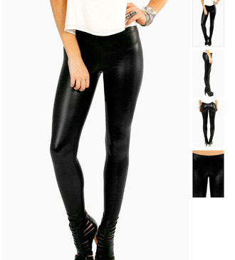 pants zip leggings matte black