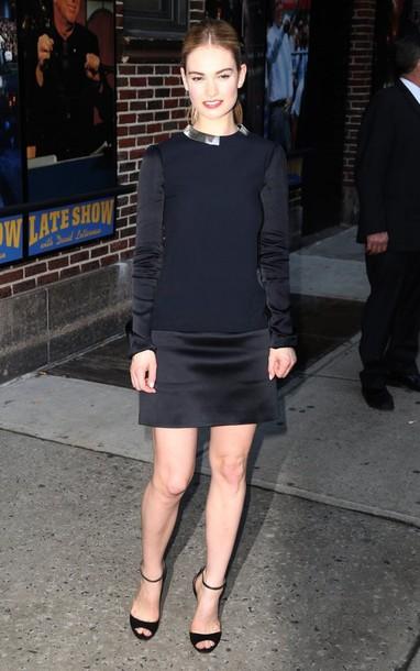 dress lily james black sandals long sleeve dress