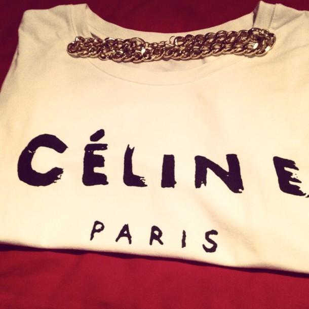 t-shirt celine paris shirt fashion haute couture white celineparis jewels