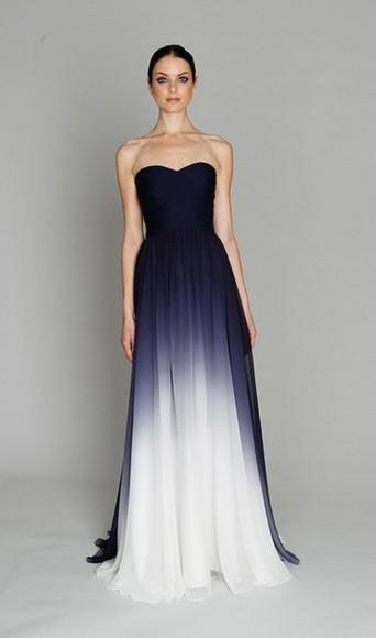 dress gown long dress blue dress strapless ombre dress