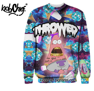 sweater patrick blue galaxy print lean throwed grillz gold trill hipster ice cream jolly ranchers crewneck blouse jacket