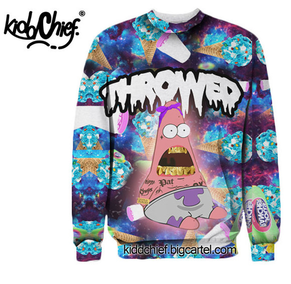 sweater gold crewneck unisex lean blue jolly ranchers patrick galaxy throwed grills trill hipster ice cream