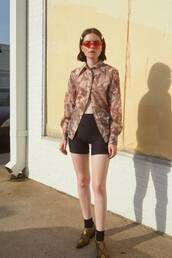shoes,snake print,ankle boots,socks,sports shorts,printed shirt,red sunglasses