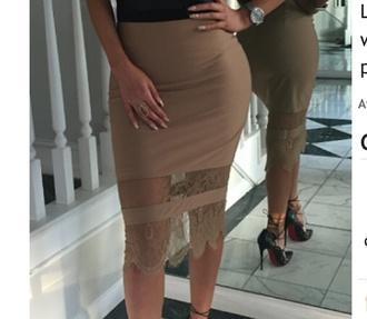 skirt tan lace camel skirt tan skirt midi skirt