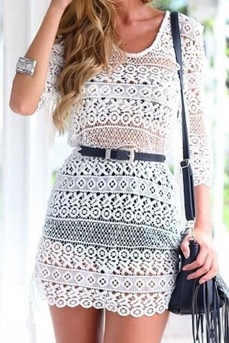 dress white lace see-through 3/4 sleeve dress crochet summer white