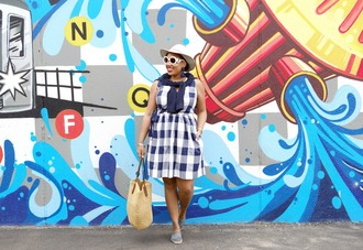 closetconfections blogger dress cardigan sunglasses hat bag shoes summer outfits espadrilles raffia bag plaid dress