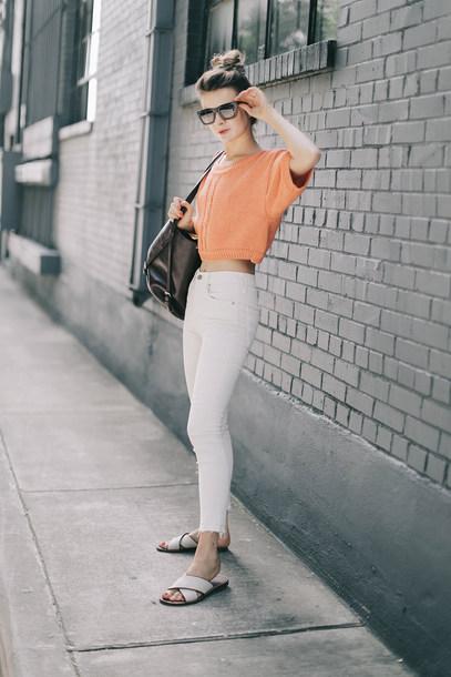 9433355d46c jeans orange top sunglasses tumblr white jeans skinny jeans flats flat  sandals top orange bag black