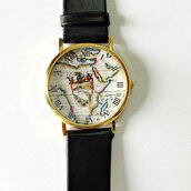 jewels,watch,vintage style,fashionblogger,leather watch,freeforme,map watch