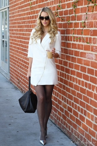 fashion addict blogger tights blazer dress black bag pointed toe silver shoes