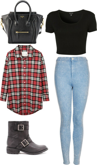 bag combat boots high waisted jeans crop tops pyrex jacket shirt jeans shoes