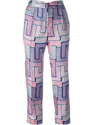 women geometric print silk purple pink pants