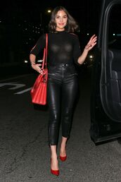pants,leather pants,olivia culpo,celebrity,pumps,red pumps,top,see through