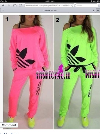 pants adidas sweats pajamas shirt adidas jacket clothes adidas neon sweater dress blouse brand pink adidas light blue pink green matching set t-shirt nail polish fluo jumpsuit adidas tracksuit yellow adidas outfit adidas shirt adidas tracksuit bottom any colour love them allll ❤️❤️ neon adidas tracksuit cardigan addida sweatsuit top adidas sweater slouchy sweater off the shoulder sweater adidas neon off shoulderr
