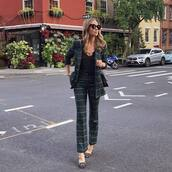 pants,wide-leg pants,plaid,blazer,black top,pumps,black sunglasses