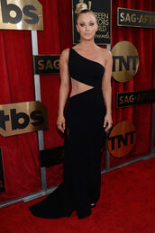 dress,black dress,one shoulder,kaley cuoco,long prom dress,prom dress,cut-out,asymmetrical dress,red carpet dress,sag awards