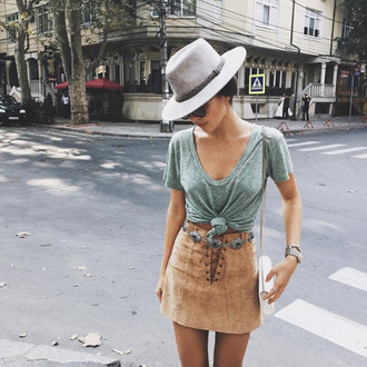 skirt cute suede lace up concho belt tan brown suade skirt bohemian belt hat summer spring shirt tan skirt bohemian skirt brown girl pretty tumblr swede tan brown boho camel light caramel brown color suede skirt lace up skirt cute outfits camel suede skirt boho felt hat vintage country old 90s style style grunge retro 60s style laces leather cowboy cowgirl accessories native american nude skirt mini skirt