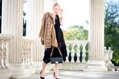 british fashion blog - mediamarmalade,blogger,dress,shoes,bag,jacket,fur coat,black dress,chanel bag,high heels,beige fur jacket