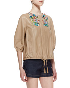 RED Valentino Shiny Napa Leather Jacket with Flower Appliques, Natural - Neiman Marcus