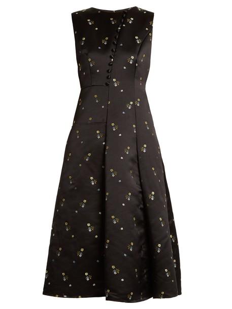 Erdem gown embroidered floral satin black dress