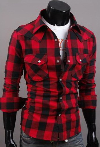 Men 39 s small big red black plaid shirts casual slim fit for Red and white plaid shirt mens