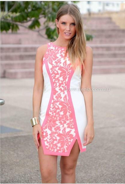 dress white pink lace bodycon dress mini dress