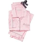 pajamas,vs,pink,light pink,blouse,victoria's secret,silky pajamas