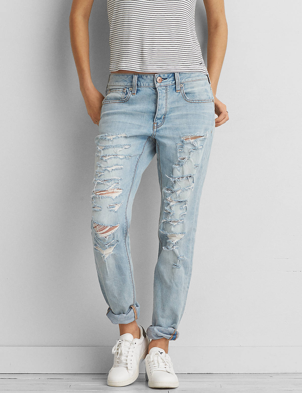 Tomgirl Jean, Faded Super Rip Torn | American Eagle Outfitters