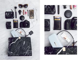 kenza blogger marble printed bag black bag designer bag cat eye hipster