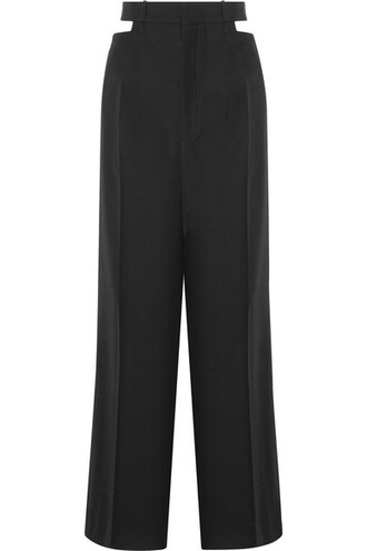 pants wide-leg pants black wool