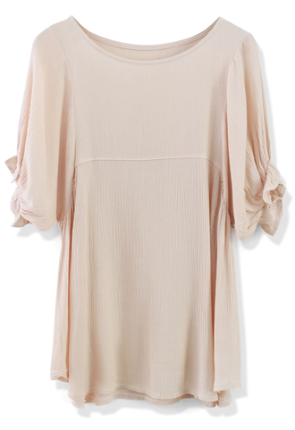 blouse relaxed nude crepe dolly top