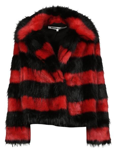 coat striped coat black red