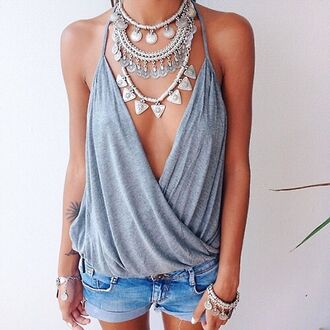 top blouse gray plunge blouse grey cool t-shirt hipster boho boho chic jewels tank top grey blouse grey top necklace shorts shirt loose sexy shirt summer top summer grey t-shirt lookbook store statement necklace low cut low v neck summer shirt www.ebonylace.net ebonylace.storenvy coin necklace twisted indie bohemian jelwry jewelry tumblr chanel cute beach tumblr outfit gray shirt casual t-shirts sexy top plunge v neck