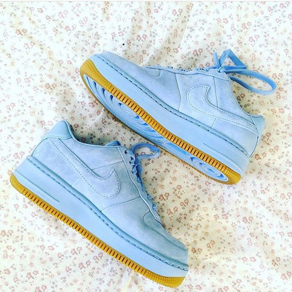 Nike Air Force 1 Upstep Premium Trainers In Blue Suede at asos.com