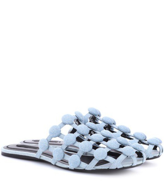 studded slippers blue shoes