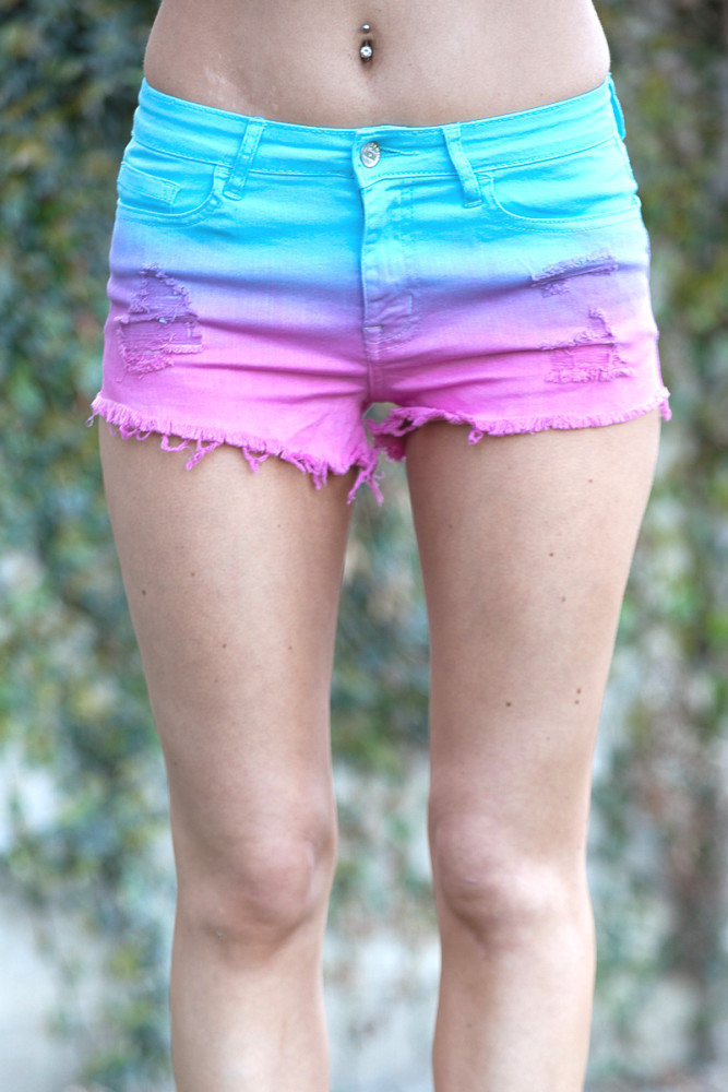 Waist Pink & Blue Ombre Cut-Off Shorts on Wanelo