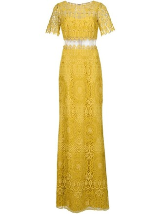 gown lace yellow orange dress
