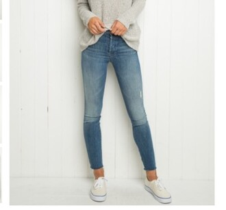 jeans denim high waisted jeans sweater alexis ren brandy melville vans fashion style light blue