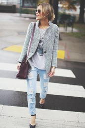 happily grey,jacket,t-shirt,jeans,shoes,bag,jewels,coat,blue and white