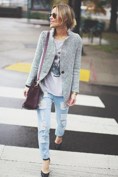 happily grey jacket t-shirt jeans shoes bag jewels coat blue and white