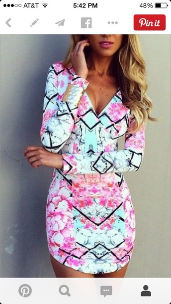 dress pink cute tribal pink and mint dress long sleeve short dress multicolor bodycon dress vneck dress aqua pink black floral dresss