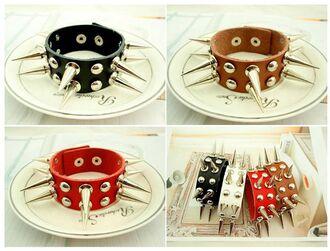 jewels goth gothic black spikes bracelets