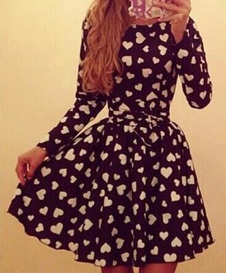 dress black dress heart cute dress black heart design white dress white hearts love