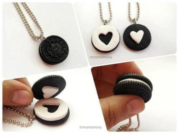 white jewels necklace cute jewels oreo oreos black white friendship necklace cookies black jewelry lovely heart diy