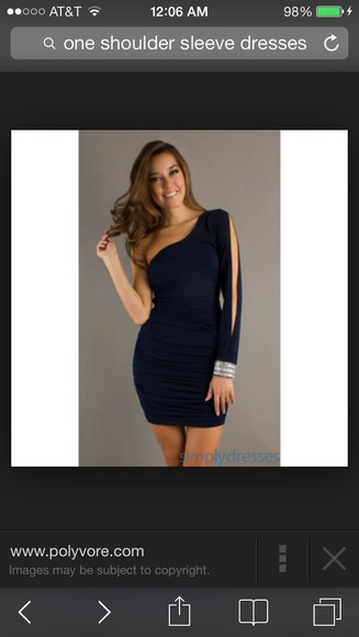navy homecoming dress prom dress one shoulder one sleeve long sleeves