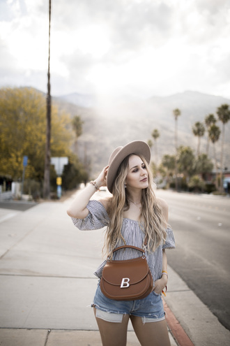 top grey top hat tumblr off the shoulder off the shoulder top bag brown bag denim denim shorts shorts