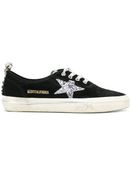 GOLDEN GOOSE DELUXE BRAND women california sneakers leather cotton suede black shoes