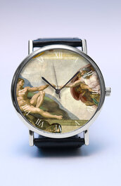 jewels,watch,handmade,style,fashion,vintage,etsy,lovutimepieces,lovu,summer,spring,father's day,fathers day,gift ideas,fashion trend,trendy,michael angelo,painting,creation of adam,creation,adam