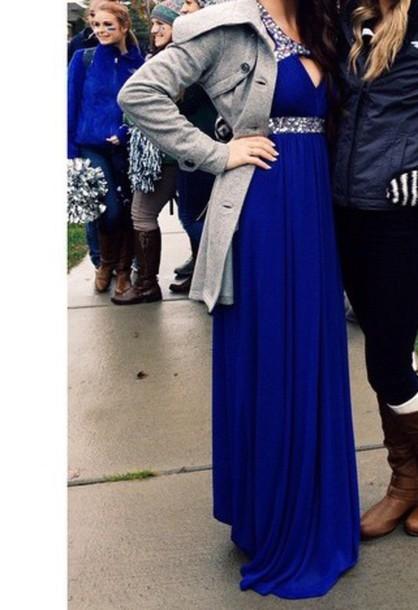 dress homecoming blue dress cut-out dress prom dress long prom dress