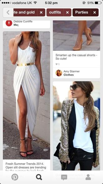 dress white slit maxi prom gold