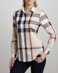 Burberry Brit Classic Check Blouse - Neiman Marcus